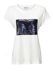 Rick Cardona Damen Designer-Shirt mit Pailletten, ecru, Größe:40