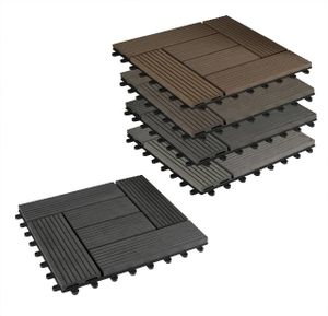 22er-Set WPC Terrassenfliese, Bodenbelag für Terrasse Farbe: anthrazit