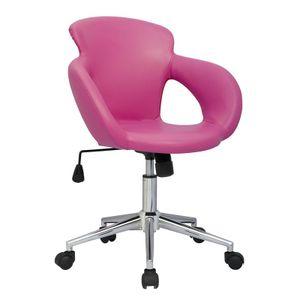 SixBros. Bürostuhl Moderner Schreibtischstuhl, Stabiler Sternfuß, Drehstuhl mit Stufenloser Höhenverstellung, Kunstleder PolyurethanPink M-65335-1/1305