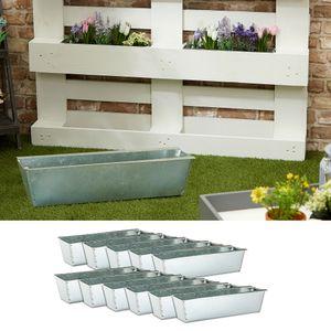 Pflanzkasten 12er Set aus Zink für Europaletten Paletten Pflanzkübel 38x13x9 cm