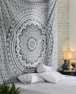 Topchances Indisch Wandteppich Mandala Tapisserie Silber Grau/Indischer Bohemian Wandbehang Yogamatte Picknickdecke Strandtücher (Grau, 150 x 205cm)