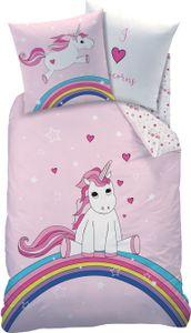 Biber / Flanell Bettwäsche Set 2tlg. Unicorn Einhorn  Regenbogen 135x200 80x80 Kinder Bettwäsche Winter Rosa