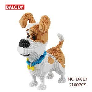 2100PCS BALODY Bausteine Jack Russell Terrier Hund Mini Modell Weihnachte Kinder Geschenk DIY Kinder Spielzeug,16013