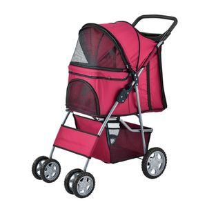 [pro.tec] Hundewagen Pet Stroller Hundebuggy Regenschutz zum Schieben Roadster inkl. Einkaufstasche Rot