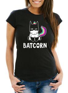 Damen T-Shirt Batcorn Einhorn Unicorn Slim Fit Moonworks® schwarz L