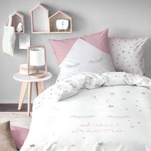 Sweet Dreams Bettwäsche 80x80 + 135x200 cm ☆ Wendebettwäsche für Kinder / Mädchen ☆ Sleepy Eyes, Wimpern, Sterne ☆ 100% Baumwolle