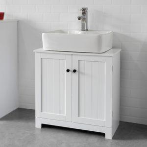 SoBuy Waschbeckenunterschrank Badschrank Waschtisch Unterschrank Badmöbel weiß L60cm BZR18-W