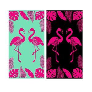 LEX Saunatuch Handtuch Duschtuch 2 Flamingos Baumwolle 90 x 170 cm, Farbe:Türkis