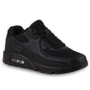 Mytrendshoe Damen Sportschuhe Camouflage Runners Laufschuhe Sneakers 814732, Farbe: Schwarz, Größe: 38