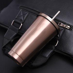 2 x Edelstahl Trinkbecher Kaffeetassen mit Strohhalm