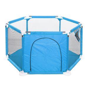 Baby Laufstall Laufgitter 6-eckig Laufgittereinlage Kinder sicheres Spielgitter Spielstall Spielgehege Reisebett Kinderreisebett Baby Bett Krabbelgitter für outdoor Indoor Blau