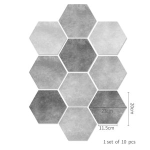 10 Stück selbstklebende Fliesen Boden Wandaufkleber Nachbildung abnehmbar,Farbe: Eben,Größe:23x20cm