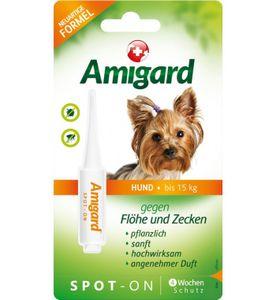 Amigard Spot-on für Hunde, natürlicher Zeckenschutz & Flohschutz, Hund bis 15 kg 1 x 2 ml