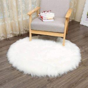Künstlicher Lammfell-Schaffell-Teppich, superweicher Kunstpelz-Zierteppich, Sofakissen und Stuhlkissen (weiß, rund 120 cm)