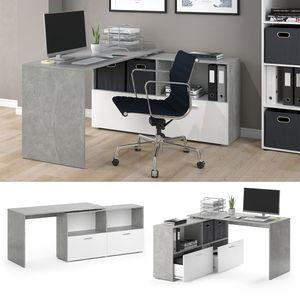 VICCO Eckschreibtisch FLEXI Weiß Beton Computer Büro PC Schreibtisch Schublade
