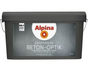 Alpina Farbrezepte Beton Optik, Struktur Farbe Komplett-Set Innen Grau