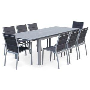 Ausziehbarer Tisch Gartengarnitur - Chicago Grau - Aluminiumtisch 175/245 cm mit Verlängerung und 8 Sitzen aus Textilene