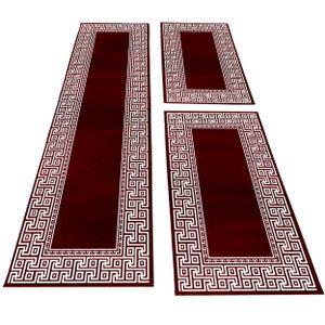 Bettumrandung Läufer Set Teppich mäander optik bordüre Muster 3 Teilig Rot Weiß, Farbe:Rot, Bettset:2 mal 80x150 cm + 1 mal 80x300 cm