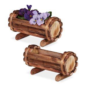 relaxdays Pflanzengefäß Holz 2er Set