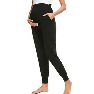 Frauen einfarbig mit Taschen bequeme Umstandshose für Frauen Größe:XL,Farbe:Schwarz