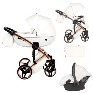 Junama Kinderwagen Kombikinderwagen Premium Buggy +Zubehör Individual by Ferriley & Fitz White Shell 06 3in1 mit Babyschale
