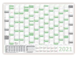 Green Wandkalender / Wandplaner 2021 (gefaltet) DIN A3 Format (297 x 420 mm) mit 14 Monaten, kompletter Jahresvorschau 2022 und Ferientermine/Feiertage aller Bundesländer