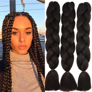 """24"""" Braids Extensions Jumbo Braids Kunsthaar 3 Bündel Synthetik Crochet Hair Flechthaar Afro Box Braiding (Mittel braun)"""