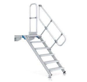 ZARGES LM-Treppe mit Plattform 45° 11 Stufen, 600 mm breit, Höhe 2,36 m