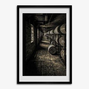 Bild 50x70 MDF-Rahmen Wandkunst Bourbon-Fässer