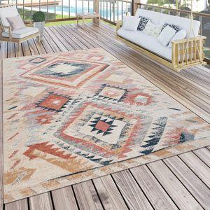 Outdoor Teppich Küchenteppich Balkon Terrasse Ethno Muster Rot Beige Orange, Grösse:200x280 cm