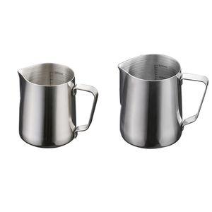 350ml + 600ml Edelstahl Kaffee Schäumt Milch Tee Latte Krug Mit Skala Set/2Stück
