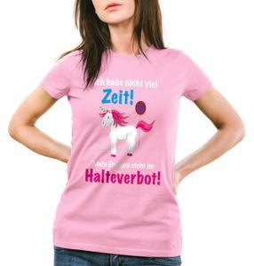 style3 Keine Zeit Einhorn im Halteverbot Damen T-Shirt Mein Unicorn steht Parken Spruch, Farbe:Pink, Größe:2XL