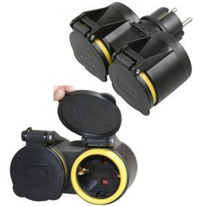 Adapter Steckdosenschalter 1x 2er Verteiler GUMMI STECKER Stecker Schuko,Y XX