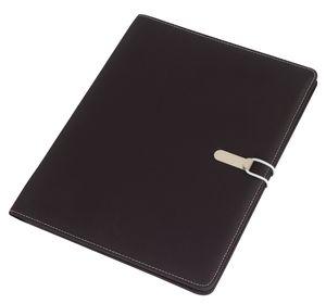 Schreibmappe A4 Farbwahl + Schreibblock, Einsteckfächer,Aktenmappe Portfolio BWI Dokumentenmappe grau / schwarz