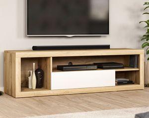 Moderner TV-Schrank - Fernsehschrank - Holzfarbe im Skandinavischen Stil - 140 cm - Bis zu 55 'TV - Wotan Eiche - Weiss, Farbe:Eiche Wotan / Weiß, Große:140 CM