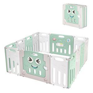 Laufstall Baby Faltbar , laufgitter Absperrgitte Krabbelgitter Schutzgitter für Kinder , HDPE Kunststoff ,14-Paneele Grün Weiß Grau
