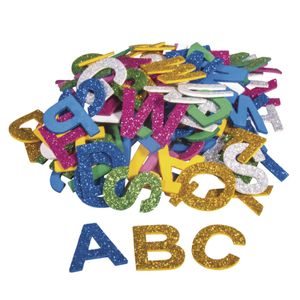 Moosgummi Alphabet mit Glitter, 130 Stück