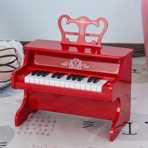 HOMCOM Kinder Elektronisches Klavier Mini-Klavier 25 Tasten Kinderpiano Keyboard für 3-6 Jahre Musikinstrument inkl. Notenpult ABS Rot 39,5 x 23,5 x 38,5 cm