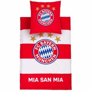 """FC Bayern München Bettwäsche """"Streifen"""" 155x220cm rot/weiß"""