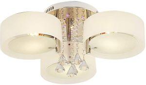 3 Köpfe Deckenleuchte LED Kristall Kronleuchter Pendelleuchte E27 60 * 30cm mit Fernbedienung 7W