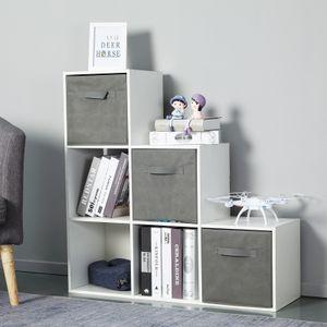 Meerveil Treppenregal, Bücherregal 6 Fächer Spanplatte Modern für Wohnzimmer Arbeitszimmer Büro,90,5 x 90,5 x 29 cm, weiß