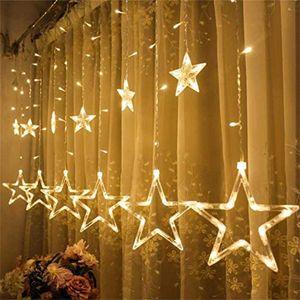 Lichtervorhang Fenster Sterne warmweiß 12 Sterne 2M 138 LEDs Lichterkette mit 8 Anzeigenmodi erweiterbar Sternenvorhang mit Strombetrieben für Innen und Außen Weihnachten Fenster Balkon Party