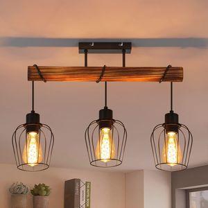 ZMH Retro Deckenleuchte 3 flammige Holz Deckenlampe im Industrial Design