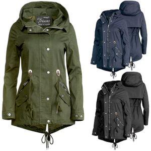 Trisens Damen Jacke Übergangsjacke Trenchcoat mit Kapuze Baumwolle Baumwolle, Farbe:Schwarz, Größe:S