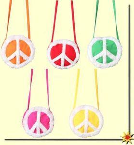 runde Handtasche Peace gelb zum Hippie Kostüm Karneval Fasching