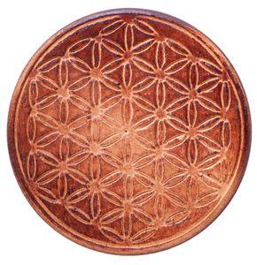 Gefäßuntersetzer aus Holz mit Blume des Lebens - 6er Set - D 7,5cm