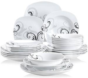 VEWEET Tafelservice 'Zoey' aus Porzellan 24 teilig Geschirrset Müslischalen Teller