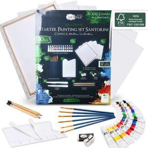 30tlg Artina Santorini Malset mit Acrylfarben, Pinsel, Malspachtel & Zeichen Set