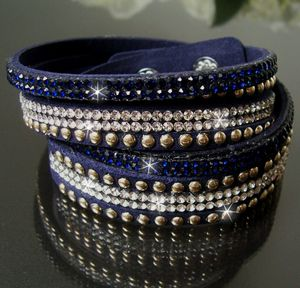 A1456* 2-fach WickelArmband Stiefelband LederLook blau Strass Nieten