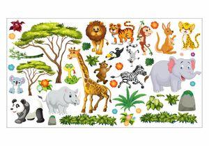 060 Wandtattoo Dschungel Tiere Löwe Elefant Giraffe : Größe - 2000 x 1120 mm